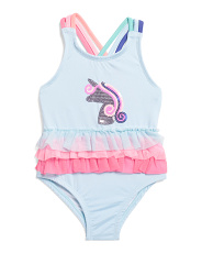 Toddler Girls Sequin Unicorn  Tulle Trim One-piece Swimsuit