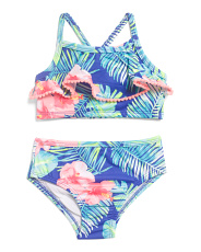 Toddler Girls Tropical Print Two-piece Swimsuit