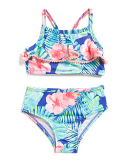 Toddler Girls 2pc Tropical Printed Pom Pom Trim Swimsuit