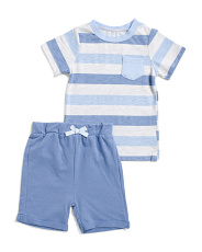 Infant Boys 2pc Striped Tee & Shorts Set