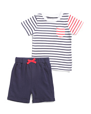 Infant Boys 2pc Striped Tee And Short Set