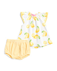 Newborn Girls 2pc Lemon Dress And Bloomers Set