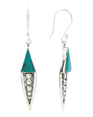 Made In Mexico Sterling Silver Turquoise Arrow Earrings