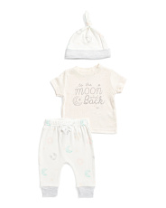 Newborn Boy 3pc To The Moon Pant Set