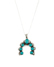 Made In Mexico 925 Silver Turquoise Squash Blossom Necklace