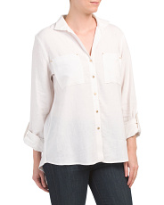 Upturned Collar Roll Tab Shirt