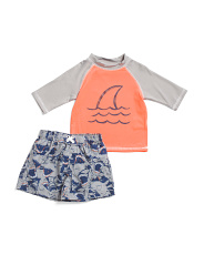 Infant Boys 2pc Shark Rash Set