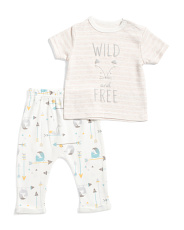 Newborn Boy 2pc Wild And Free Pant Set