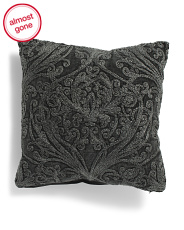 20x20 Washed Velvet Embroidered Pillow