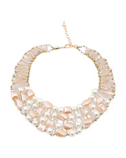 Handmade Crystal And Pearl Bib  Necklace