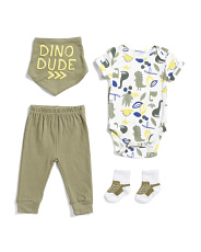 Newborn Boys 4pc Dino Bodysuit And Pant Set With Bib And Socks