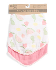 Baby Girls 2pk Muslin Fruit Bibs