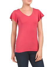 Flutter Sleeve V Neck T Shirt