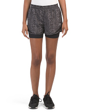 Printed Woven Shorts With Inner Compression Briefs