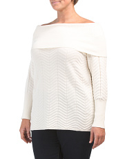 Plus  Off The Shoulder Chevron Stitch Sweater