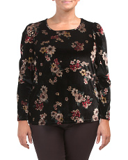 Plus Long Sleeve Floral Velvet Top