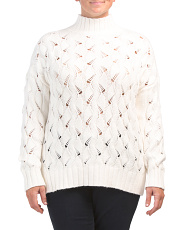 Plus Texture Stitch Mock Neck Sweater