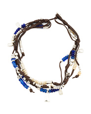 Handmade In Spain Leather Beaded Lollapalooza Necklace