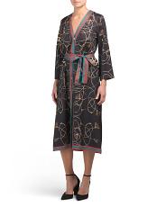 Status Printed V Neck Dress With Belt