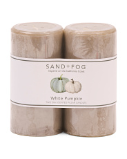 Set Of 2 White Pumpkin Pillars