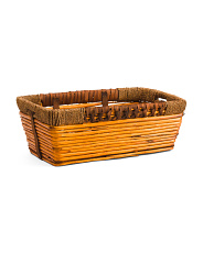 Large Rectangle Willow Basket With Wrapping Handles