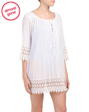 Three-quarter Sleeve Crochet Cover-up Tunic