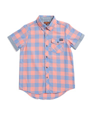 Big Boys Button Up Short Sleeve Woven Shirt