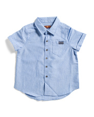 Little Boys Button Up Short Sleeve Woven Shirt