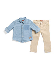 Toddler Boys 2pc Denim Shirt And Twill Pant Set