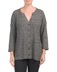 Three-quarter Sleeve Buttoned Cardigan