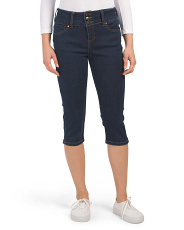 Triple Button High Waist Denim Capris