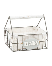 Metal Caddy With Wood Baby Plaque