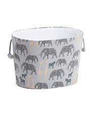 Savanna Oval Basket With Poly Liner And Canvas Handles