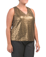 Plus Solid Sequin V-neck Top