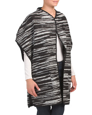 Long Poncho With Novelty Fabric
