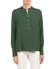 Made In Italy Henley Neck Blouse