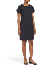 Made In Usa Petite Shift Dress With Ruffle Sleeve Detail