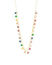 Made In Turkey Sterling Silver Rainbow Cz Drop Necklace