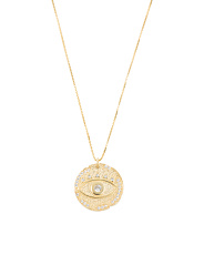 Made In Turkey Sterling Silver Cz Evil Eye Disk Necklace