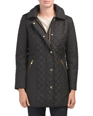Petite Hooded Mid Weight Quilted Jacket