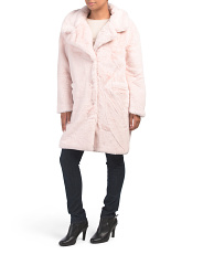 Juniors Plush Lapel Midi Jacket