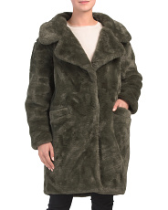 Juniors Plush Faux Fur Midi Coat
