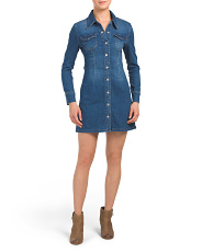 Juniors Dark Wash Long Sleeve Denim Dress