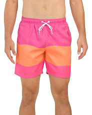 Neon Thick Stripe Swim Shorts