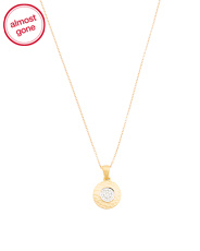Made In Israel 14k Gold And Diamond Disc Necklace