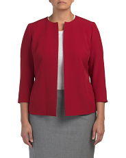 Plus Jewel Neck Crepe Jacket
