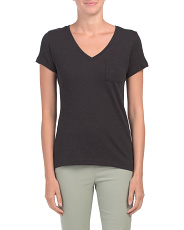 Slub V-neck T-shirt With Pocket