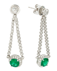 18k White Gold Diamond And Emerald Drop Earrings