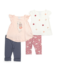 Infant Girls 4pc Mix And Match Llama Capri Set