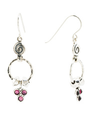 Made In Israel Sterling Silver Garnet Drop Earrings